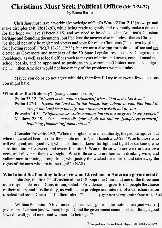 Christians must seek Political Office page103